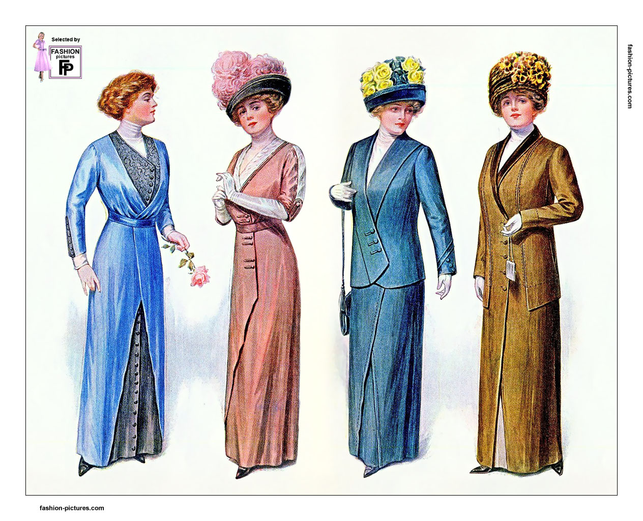 87fba0a4a59 1910s fashion. Women s dresses and outfits in 1910 and 1912 ...