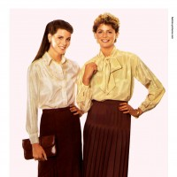 1980s fashion 1980-r0509-silk-blouse-and-pleated-skirt-red0089