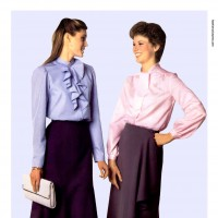 1980s fashion 1980-r0510-frilled-blouse-and-flared-skirt-red0063