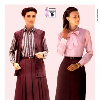 1980s fashion 1980-r0511-bow-tie-blouse-and-pencil-skirt-red0097