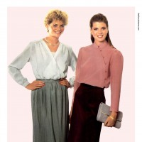 1980s fashion 1980-r0512-pencil-velvet-skirt-and-silky-blouse-red0065